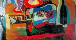 Пабло Пикассо «Бокал, букет, гитара и бутылка»