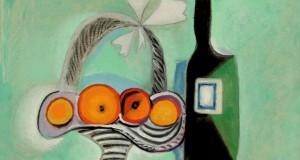Пабло Пикассо «Натюрморт. Корзина фруктов и бутылка»