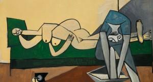 Пабло Пикассо «Женщина лежащая и женщина, моющая ноги»