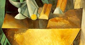 Пабло Пикассо «Хлеб и блюдо с фруктами на столе»