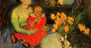 Пабло Пикассо «Мать и ребенок за букетом цветов»